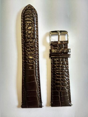 pulseira couro marrom relógio emporio armani 24mm textura