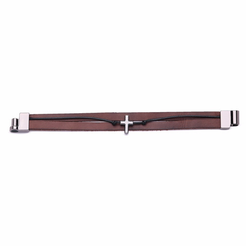 pulseira couro masculino feminino bracelete crucifixo