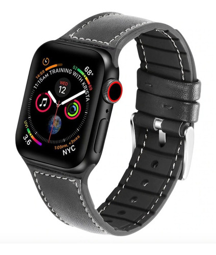 pulseira couro para apple watch 42/44mm adaptador integrado