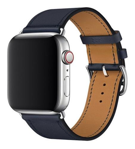 pulseira couro para apple watch 42/44mm azul marinho