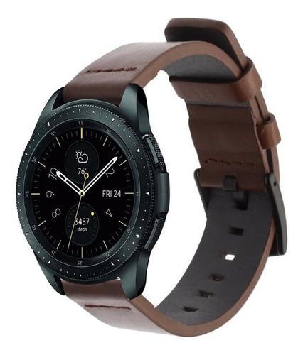 pulseira couro para galaxy watch active 2 44mm - marrom