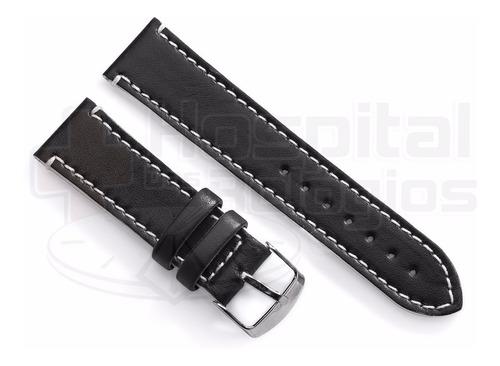 pulseira couro preta 24mm costura e lateral branco luxo