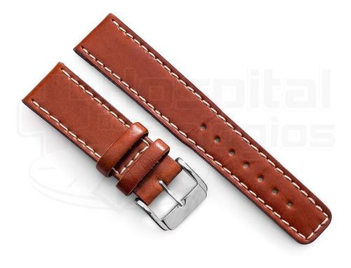 pulseira couro preta marrom 18 20 22mm costurada forte