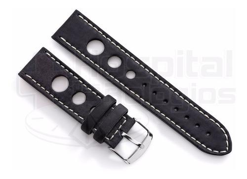 pulseira couro vazada preta pespontada 22mm macia p/ relógio