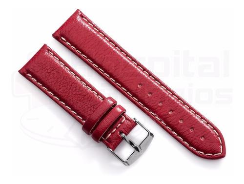 pulseira couro vermelha p/ relógio 22mm p/ relógio