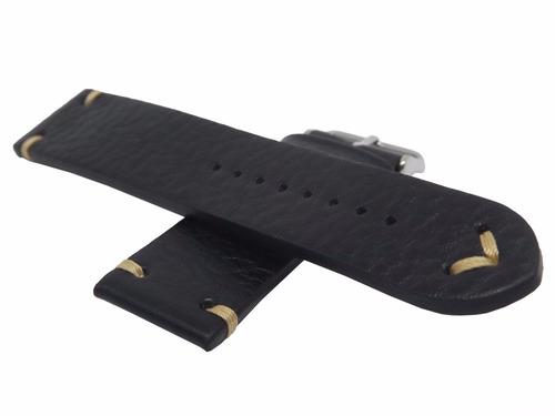 pulseira couro vintage 20mm preta marry montan p/ relógio