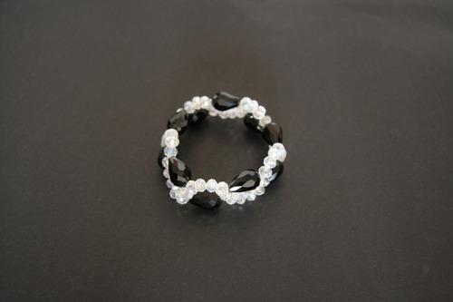 pulseira cristal preta/branco