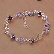 pulseira cubo em prata com cristais coloridos
