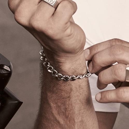 pulseira de aço inox masculina grumet fino moderna estilosa