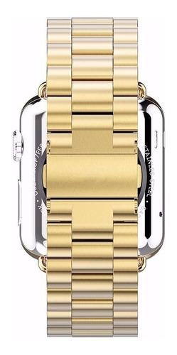 pulseira de aço inox p/ apple watch 38mm - dourada 3 pontos
