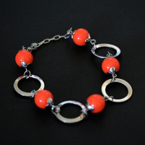 pulseira de aço laranja
