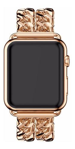 pulseira de aço trançado p/ apple watch 38/40mm - rosê