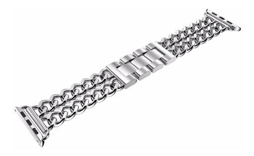 pulseira de aço trançado p/ apple watch 42/44mm - prata