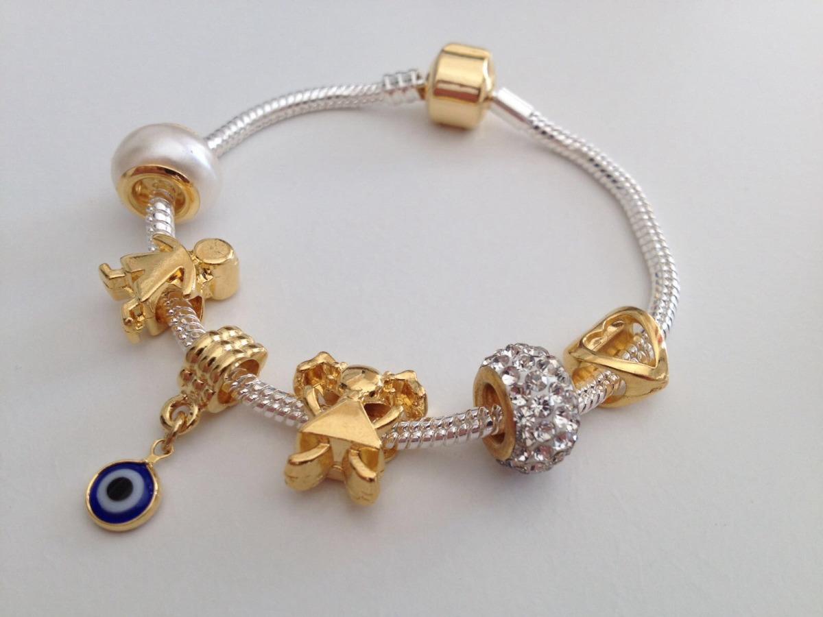 19e65d0ea4f pulseira de berloque banhada prata  ouro estilo pandora life. 6 Fotos