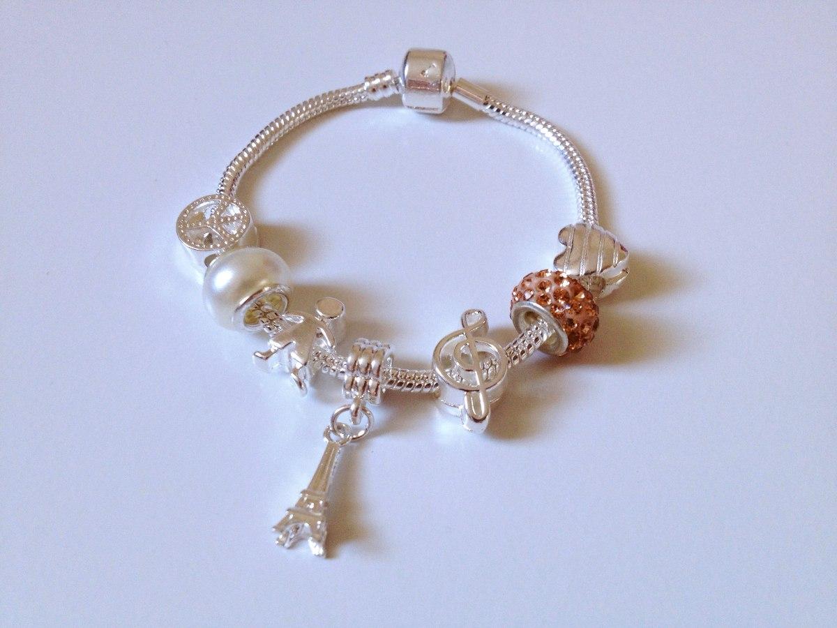 dc78527760b pulseira de berloques banhada a prata estilo pandora e life. Carregando  zoom.