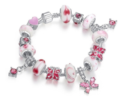 pulseira de berloques com 16 berloques rosa + banho em prata