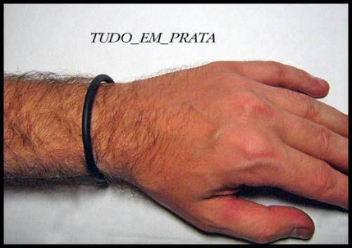 pulseira de borracha 4mm com ponteiras em prata
