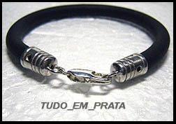 pulseira de borracha 6mm com ponteiras em prata