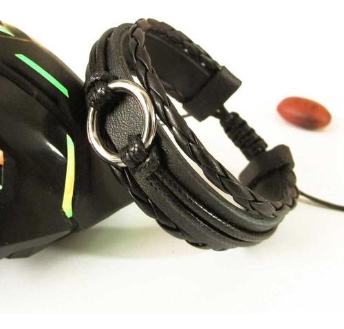 pulseira de couro argola masculina ajustável preta