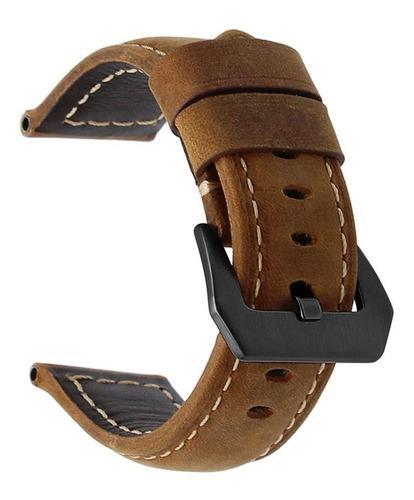 pulseira de couro bk para samsung galaxy watch 46mm marrom