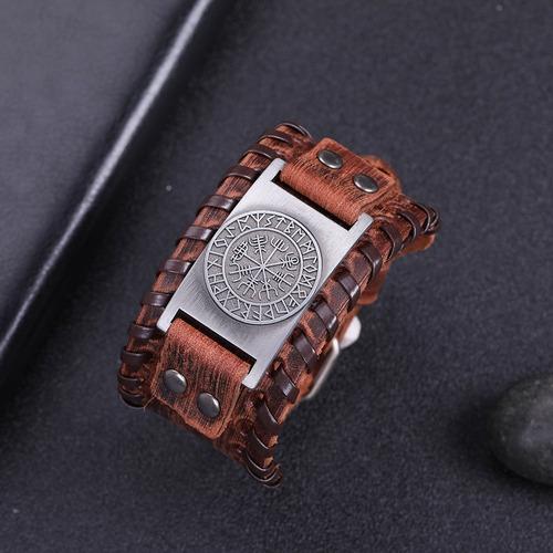 pulseira de couro bracelete masculino viking ragnar thor