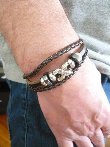 pulseira de couro c/ fecho metálico masculina café linda