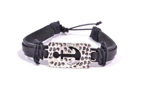 pulseira de couro com ancora - ref: p015