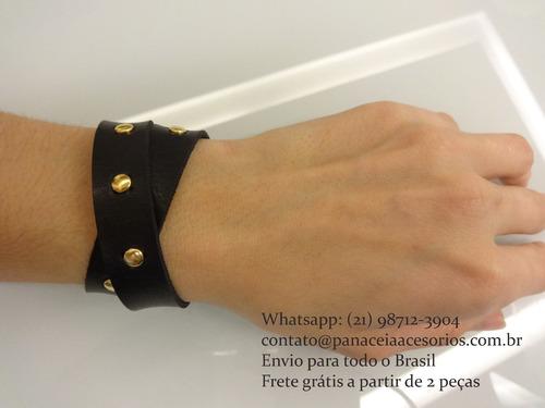 pulseira de couro duas voltas spike preta
