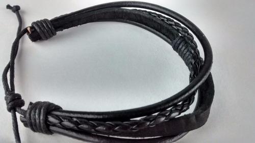 pulseira de couro e corda vintage