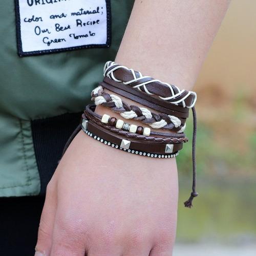 pulseira de couro feminina masculina lindo conjunto 8 em 3