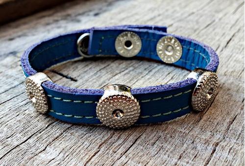 pulseira de couro hangar azul botão