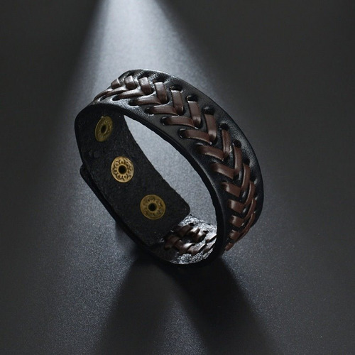 pulseira de couro larga masculino bracelete tribal rock ajus