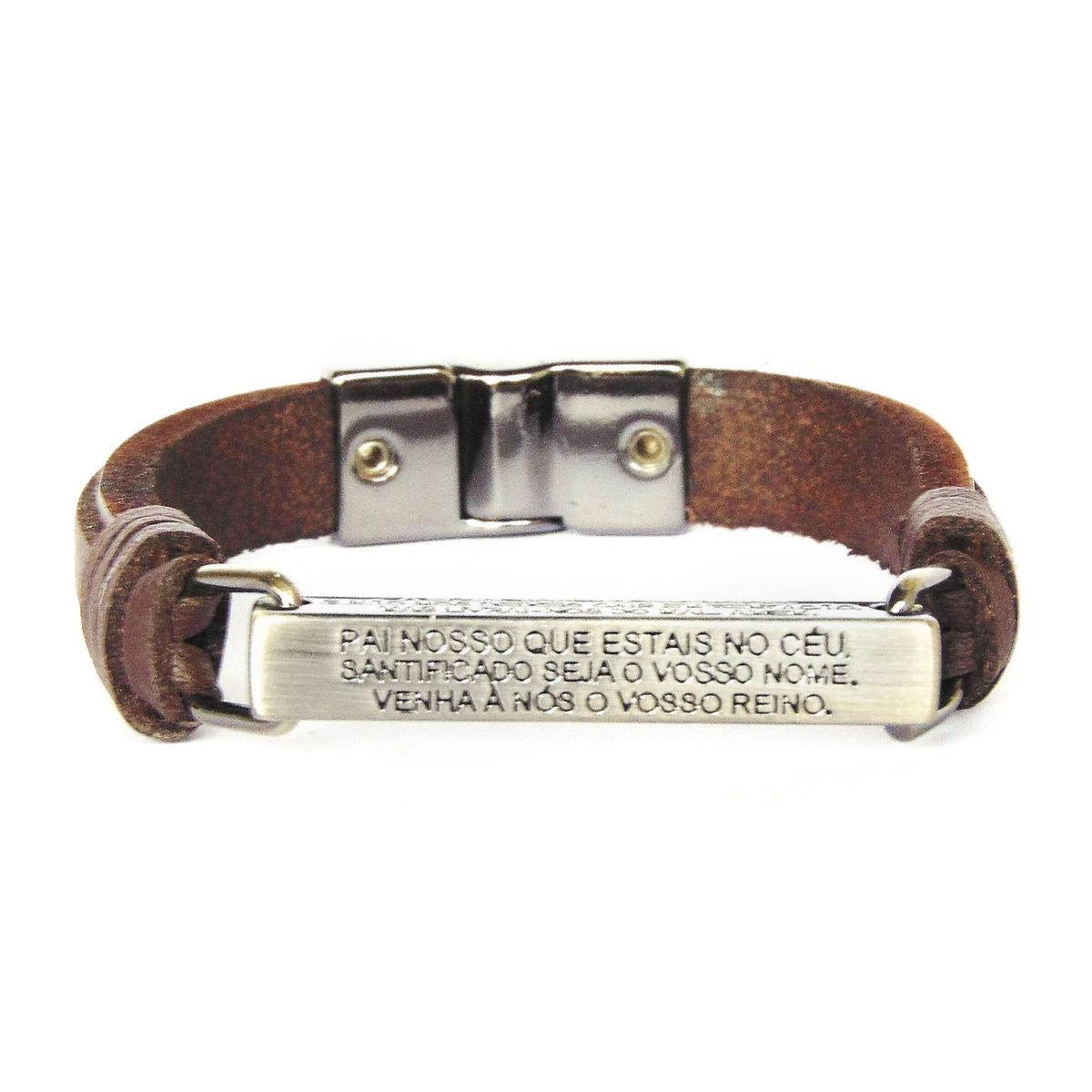 12032c8aa pulseira de couro legítimo marrom pai nosso. Carregando zoom.
