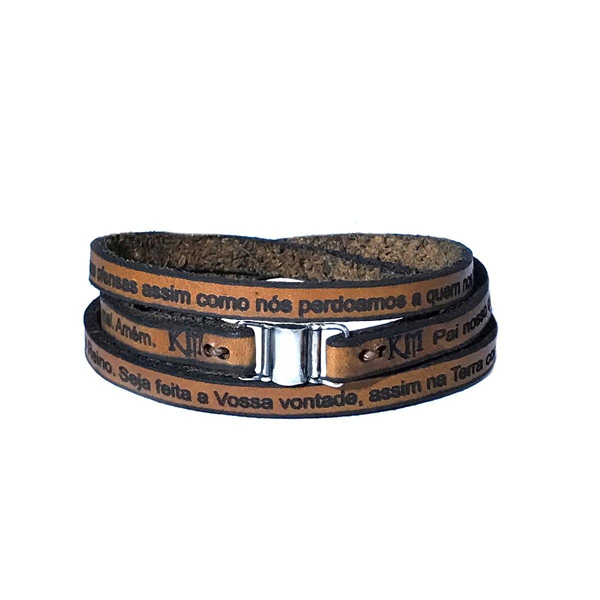 6929d9b48 pulseira de couro legitimo pai nosso. Carregando zoom.
