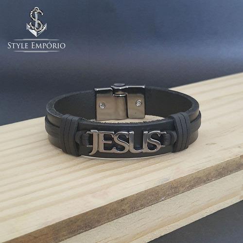 pulseira de couro legítimo preta jesus