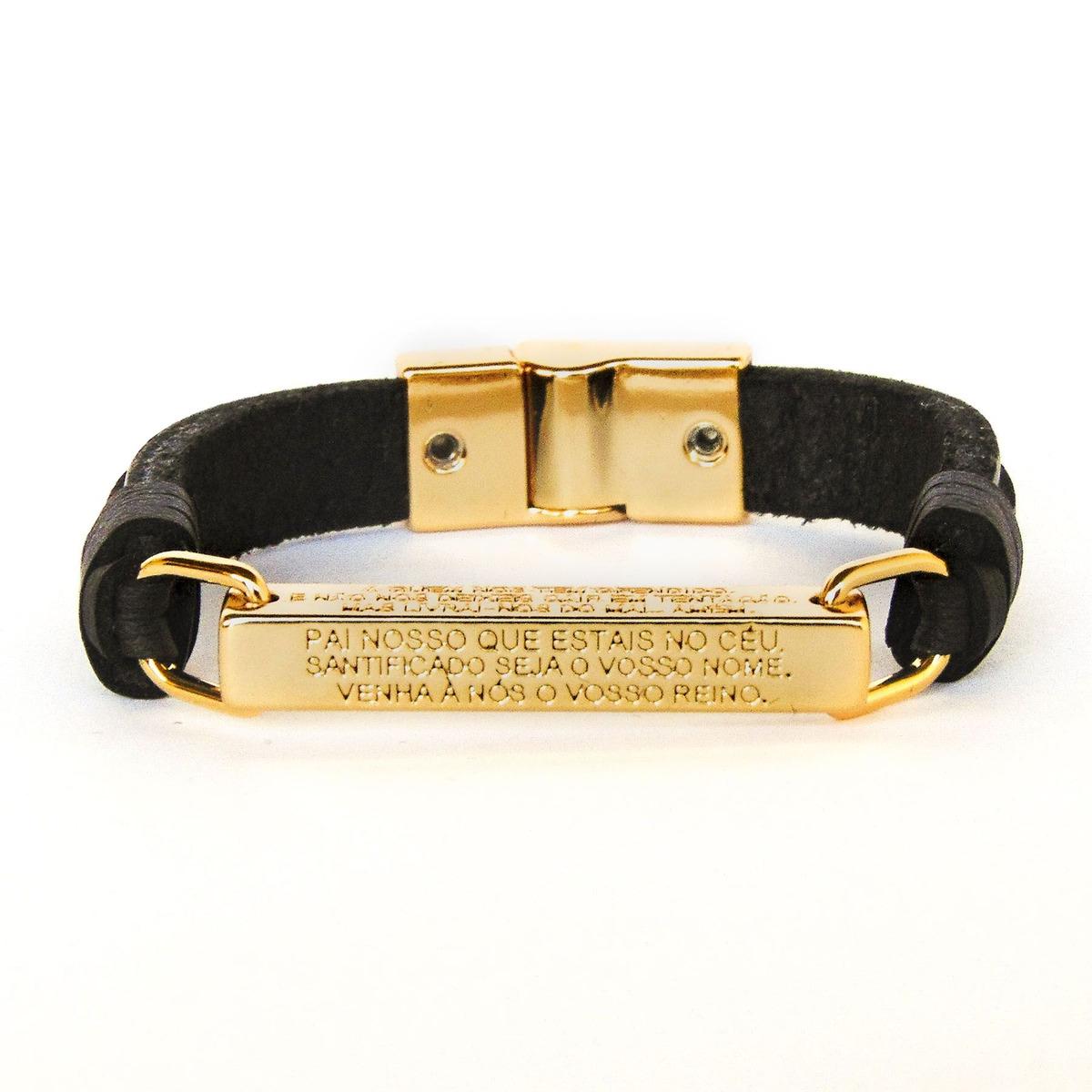 b1f251863 pulseira de couro legítimo preta pai nosso dourada. Carregando zoom.