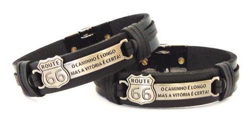 pulseira de couro legítimo preta router 66