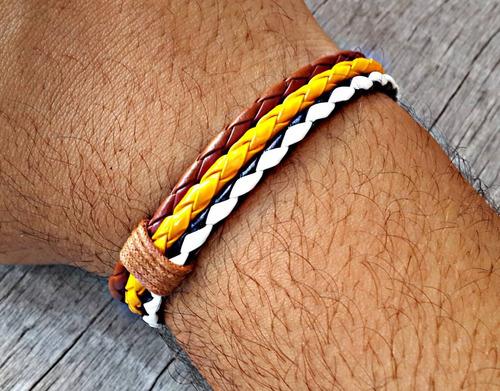 pulseira de couro magnetica amarela