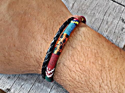 pulseira de couro magnética indiana