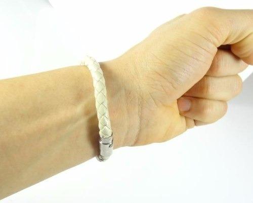 pulseira de couro marfim creme masculina feminina imã j2874