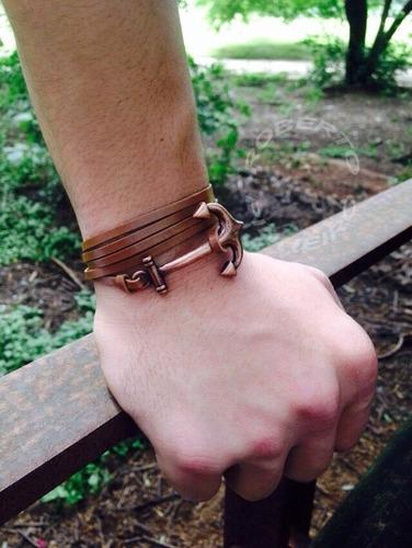 pulseira de couro marrom com ancora bronze