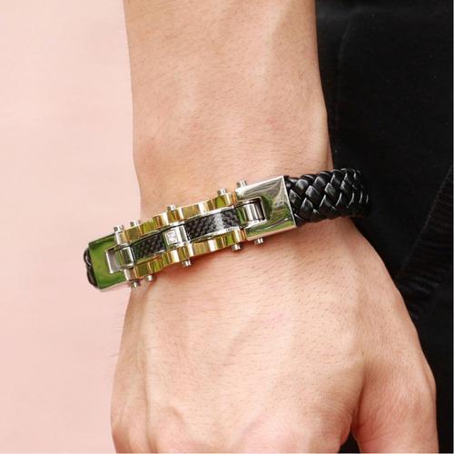 pulseira de couro masculina bracelete largo aço alto padrão
