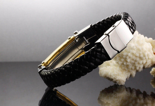 pulseira de couro masculina detalhes banhado a ouro 18k cruz