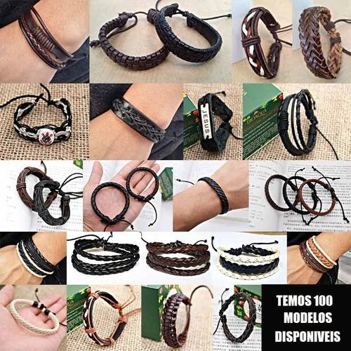 pulseira de couro masculina feminina ajustavel varios modelo
