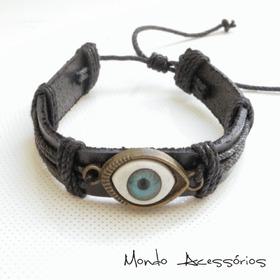 Pulseira De Couro Olho Místico Proteção P/ Mau Olhado Barato
