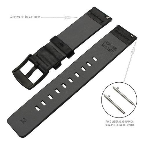 pulseira de couro para samsung galaxy watch bt 46mm - preto