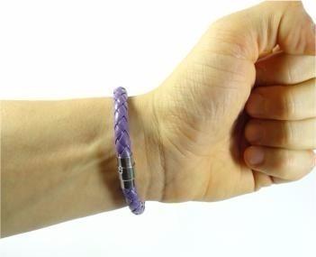 pulseira de couro roxa lilas masculina feminina imã j2877