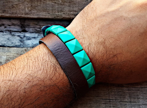 pulseira de couro spike turquesa
