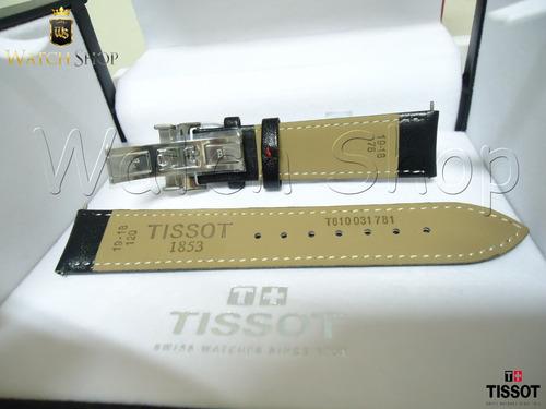 pulseira de couro tissot prs200 t067 19mm vermelho original