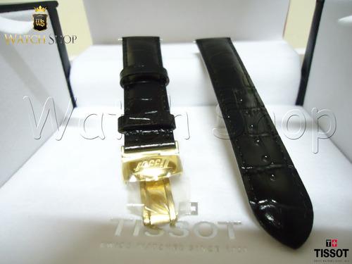 pulseira de couro tissot t019 20mm preta dourada original